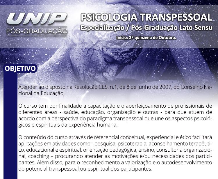 Psicologia Transpessoal - Especialização / Pós-Graduação Lato Sensu